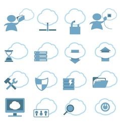 Cloud hosting icons set vector