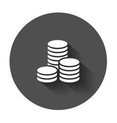 Coins stack money stacked coins icon with long vector