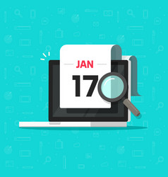 Computer with calendar date and magnifier glass vector