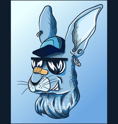 cool blue rabbit with hat earrings and sunglasses vector image