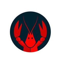 Crayfish logo red river lobster langoustine or vector
