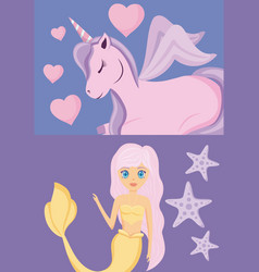cute siren with unicorn of fairy tale vector image