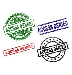 Damaged textured access denied stamp seals vector