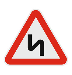 dangerous turn right icon flat style vector image