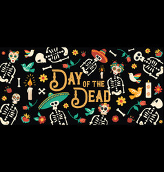 day of the dead mexican skull celebration card vector image