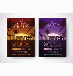 Design of posters for a night summer party vector
