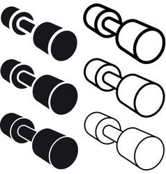 dumbbell black white symbol vector image