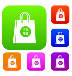 Duty free shopping bag set collection vector