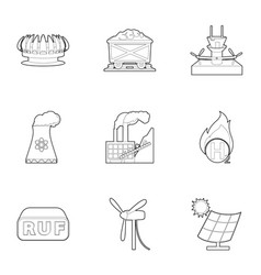 Eco industry icons set outline style vector