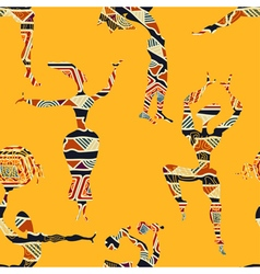 Ethnic yellow seamless texture with figures vector
