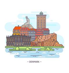 Famous historical monuments of denmark landmarks vector