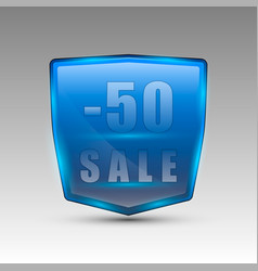 Fifty percent sale blue emblem vector