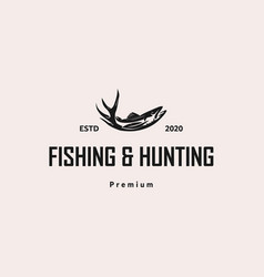 fish and hunting logo design template vector image