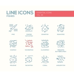 Fishes - line design icons set vector image