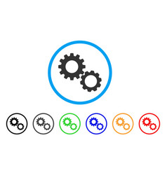 gears rounded icon vector image vector image