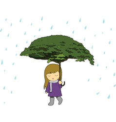 girl with tree umbrella in the rain vector image