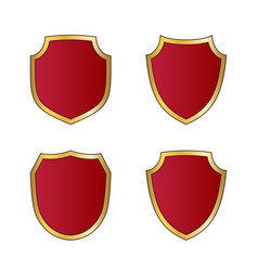 gold and red shield shape icons set logo emblem vector image