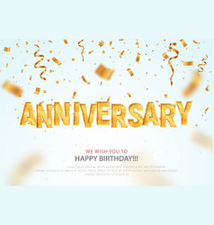 Golden anniversary word and falling down confetti vector