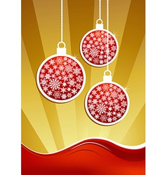Golden christmas baubles background vector image