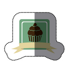 green emblem muffin with strawberry icon vector image