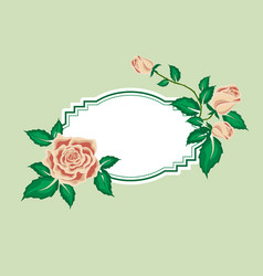 Greeting card with tea roses vector