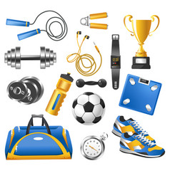 Gym sport equipment isolated icons sporting items vector