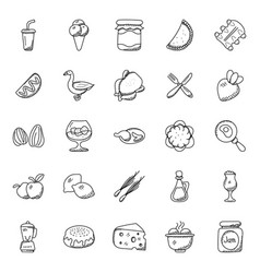 Hand drawn doodle icons food theme vector