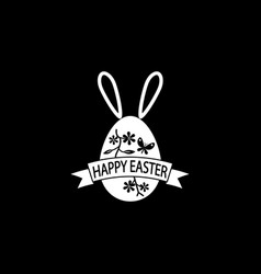 happy easter egg with ribbon bunny ears solid icon vector image