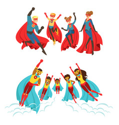 Happy family superheroes set smiling parents vector
