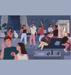 happy friends at home party apartment or living vector image