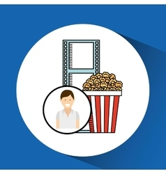 happy woman cartoon cinema pop corn vector image