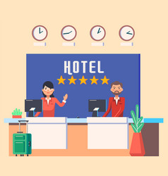 Hotel lobwith man and woman receptionist vector