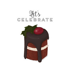 Hristmas brownie chocolate cake greeting card vector