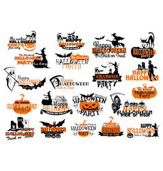 Icons for happy halloween holiday party vector