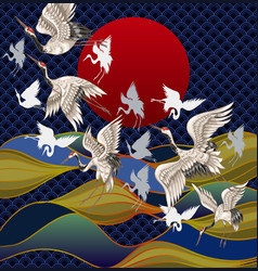 Japanese cranes against background vector