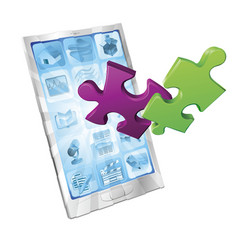 Jigsaw puzzle pieces flying out phone vector