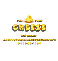 latin alphabet - cheese trend font 2018 color in vector image