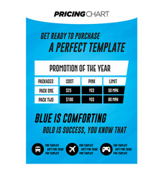 light blue pricing table with grunge background vector image