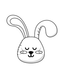 Line teddy rabbit boy head animal wild vector