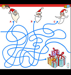 lines maze game with christmas santa characters vector image