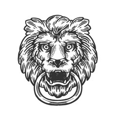 Lion door handle engraving vector