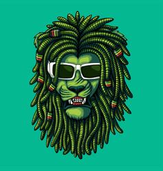 Lion green dreadlocks vector