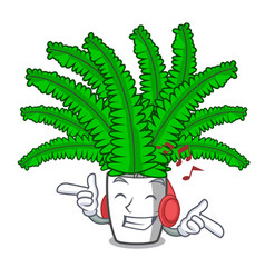 Listening music cartoon natural green fern in the vector