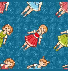 Little ballerina and flower cartoon style vector