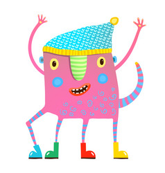 little kids monster in clothes showing vector image
