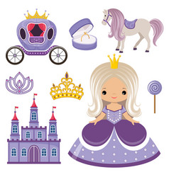 Little princess castle and carriage vector