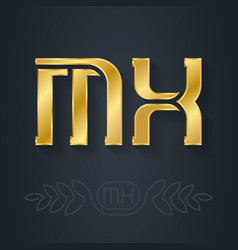 m and x initial golden logo mx - metallic 3d icon vector image