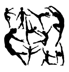 male ballet dancer poses silhouettes vector image