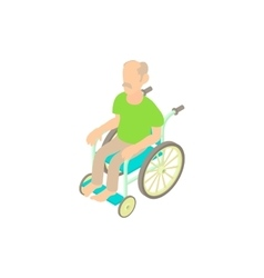 Man sitting on wheelchair icon cartoon style vector