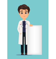 Medical doctor in white coat standing close to vector